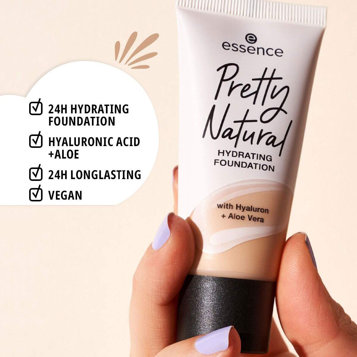 Base Pretty Natural 300 Cool Mahogany - hydrating foundation Essence