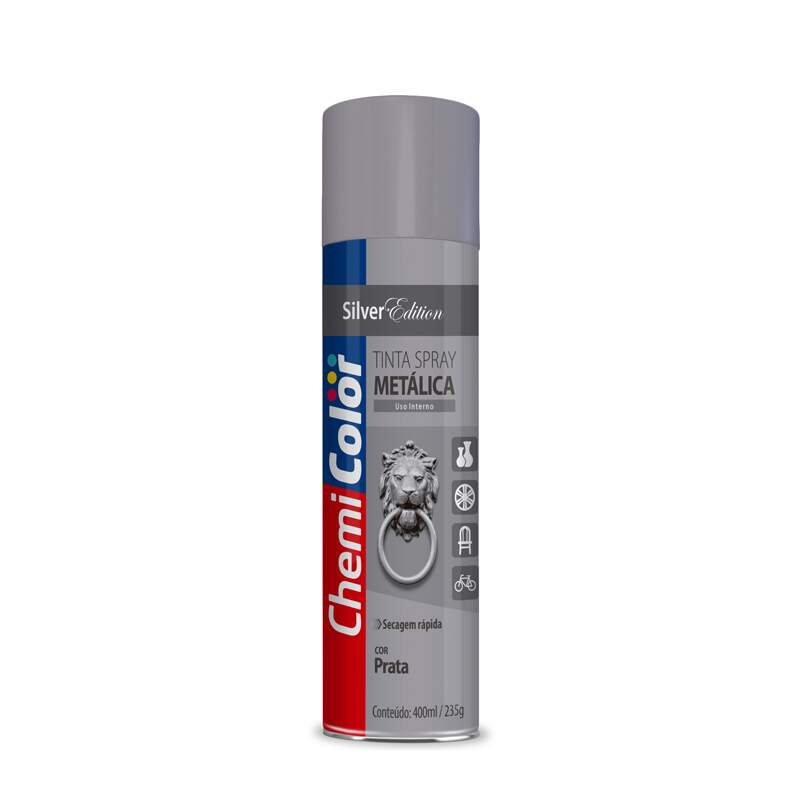 TINTA SPRAY  METALICA PRATA 6X350 CHEMICOLOR - CX