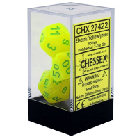 Kit de dados: Chessex - 7 Dados - Vortex: Eletric Yellow/Green