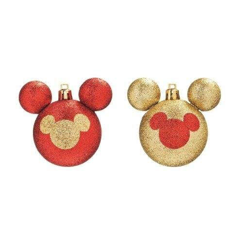 BOLA SILHUETA MICKEY GLITTER VRM/OUR 6cm (DISNEY) JG C/6 PC