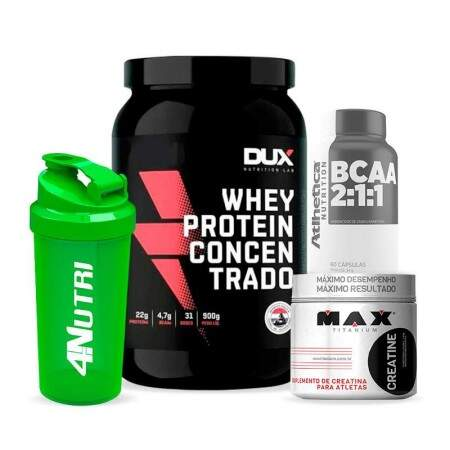 Kit Whey Dux + Creatina + Bcaa + Brinde