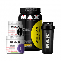 Kit Whey Pro + BCAA Drink + Creatina + Brinde