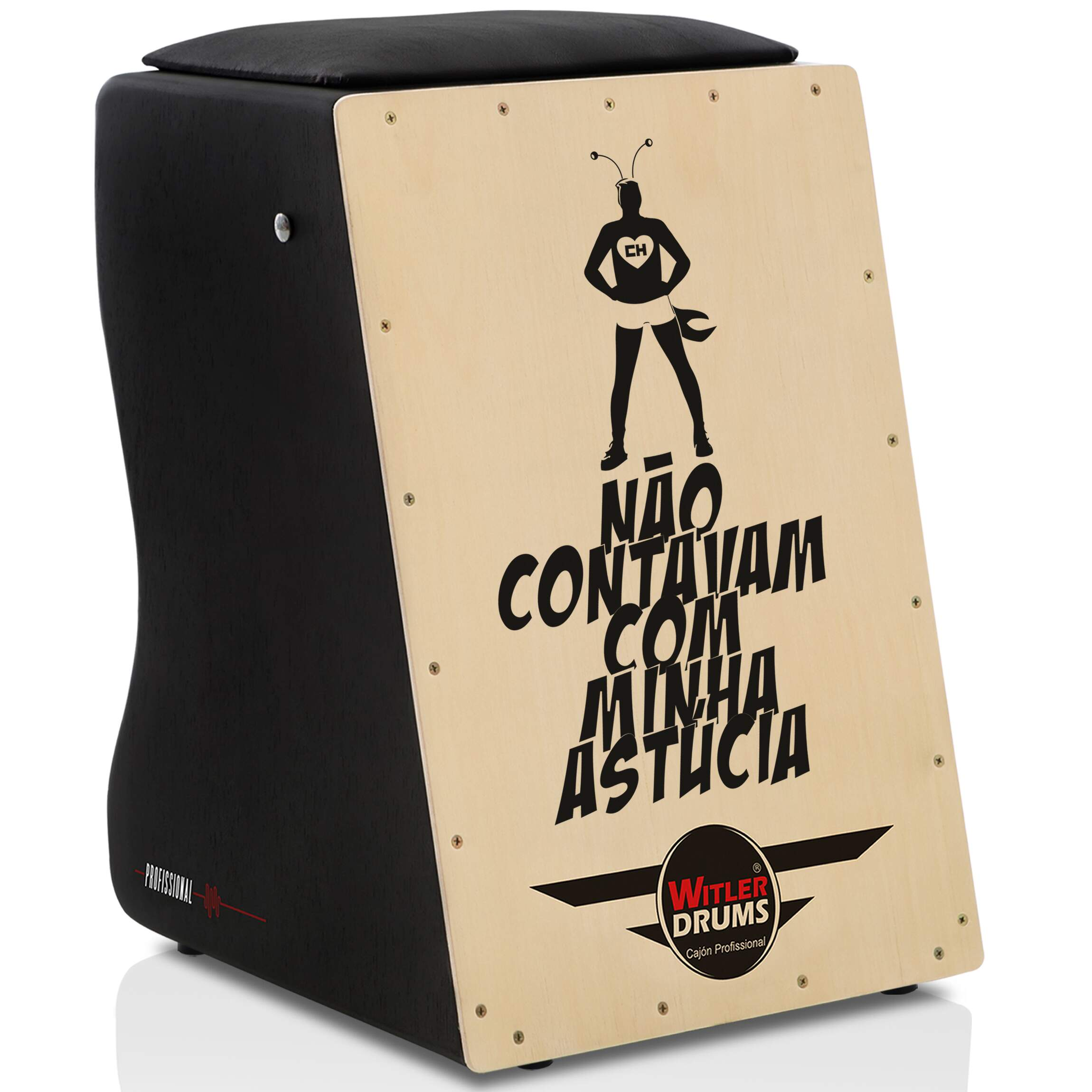 Cajón Personalizado Inclinado Black | Tampa Natural | CHAPOLIN