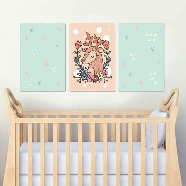 3 Placas Decorativas Infantil 05 Cervo