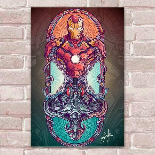 Placa Decorativa Fan Art 06 Homem de Ferro e Ultron