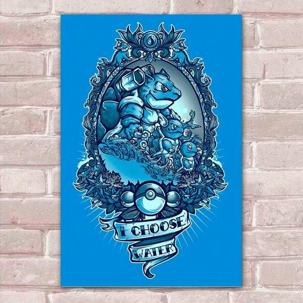 Placa Decorativa Fan Art 17 Pokémon I Choose Water