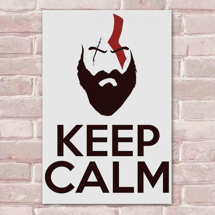 Placa Decorativa God of War 10 Keep Calm