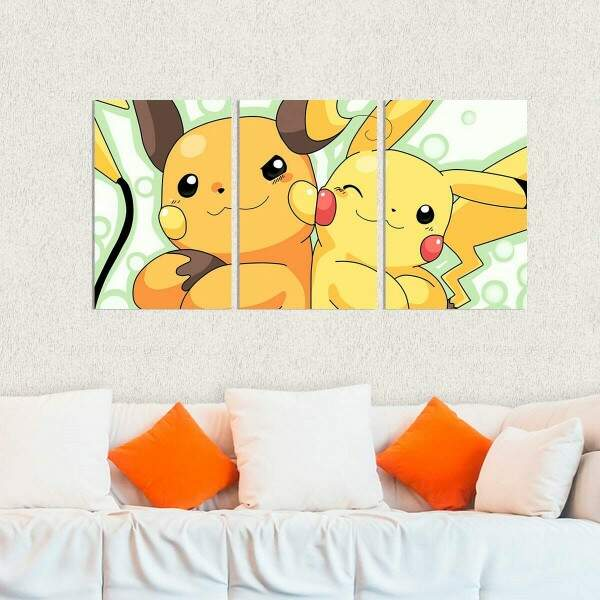 Kit 3 Placas Decorativas Pokémon 5 Raichu e Pikachu