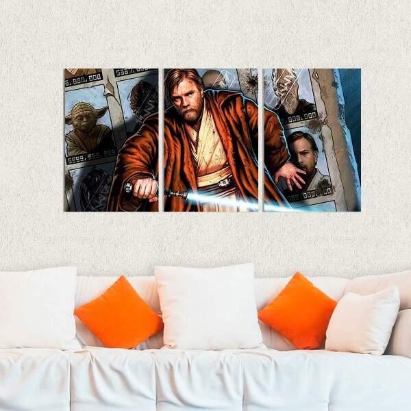 Kit 3 Placas Decorativas Star Wars Obi Wan Kenobi