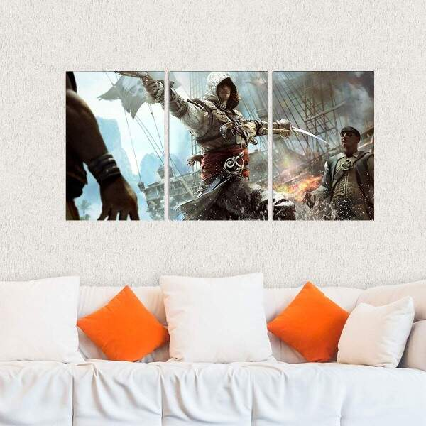 Kit 3 Placas Decorativas Assassins Creed 5