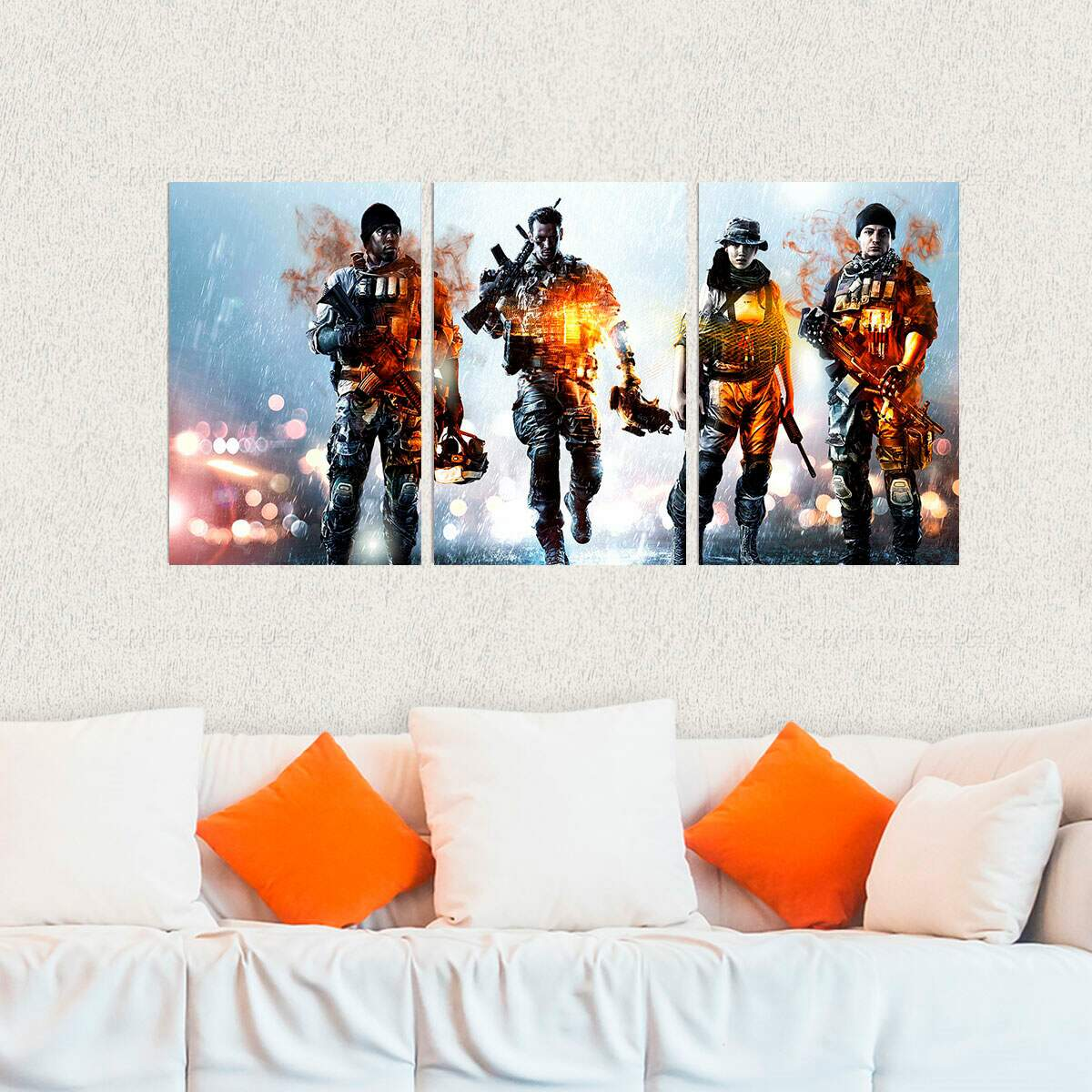 Kit 3 Placas Decorativas Battlefield 3