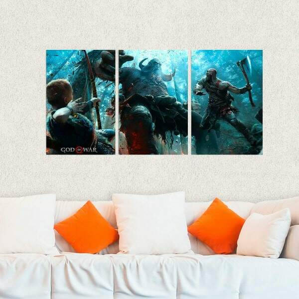 Kit 3 Placas Decorativas God of War 4