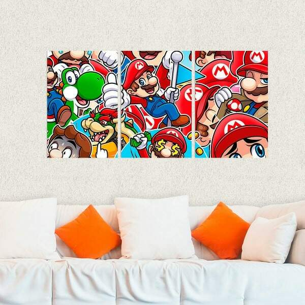 Kit 3 Placas Decorativas Super Mario 2