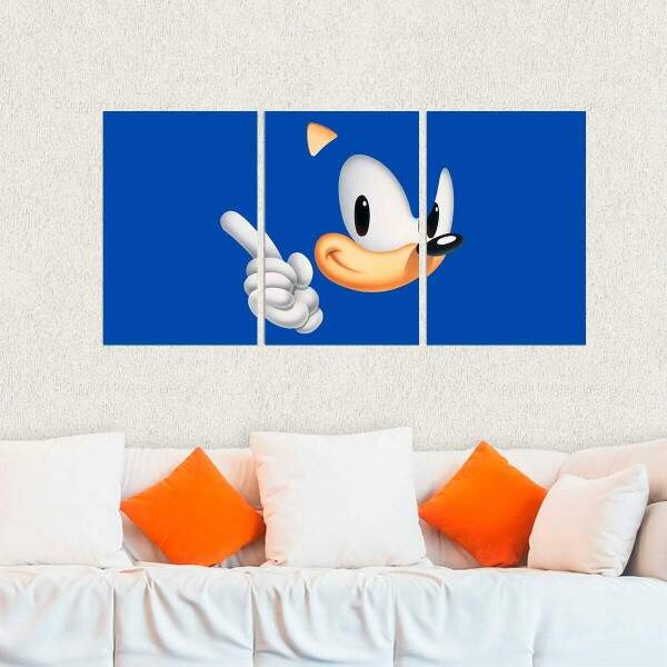 Kit 3 Placas Decorativas Games Sonic 1