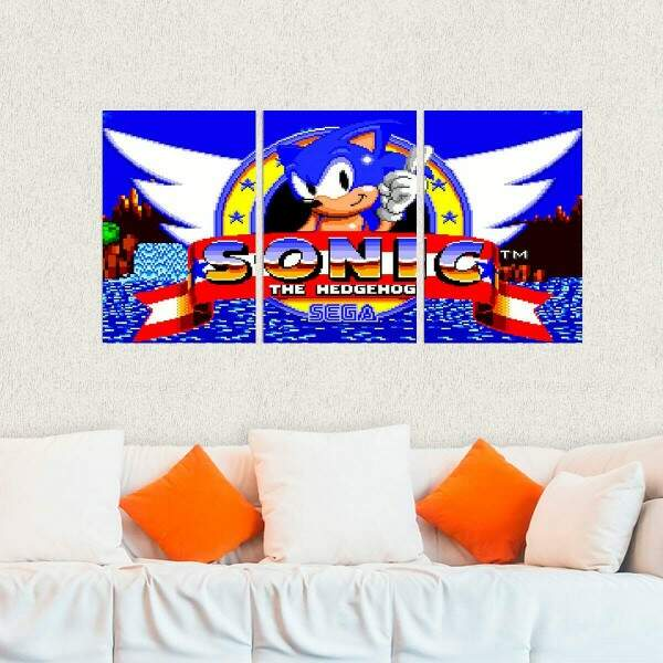 Kit 3 Placas Decorativas Games Sonic 3