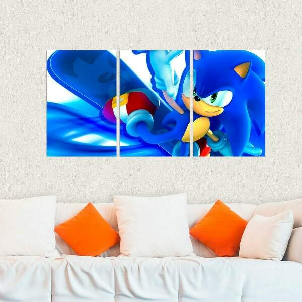Kit 3 Placas Decorativas Games Sonic 8