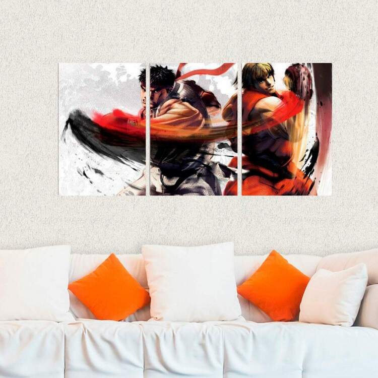 Kit 3 Placas Decorativas Street Fighter 6 Ryu e Ken