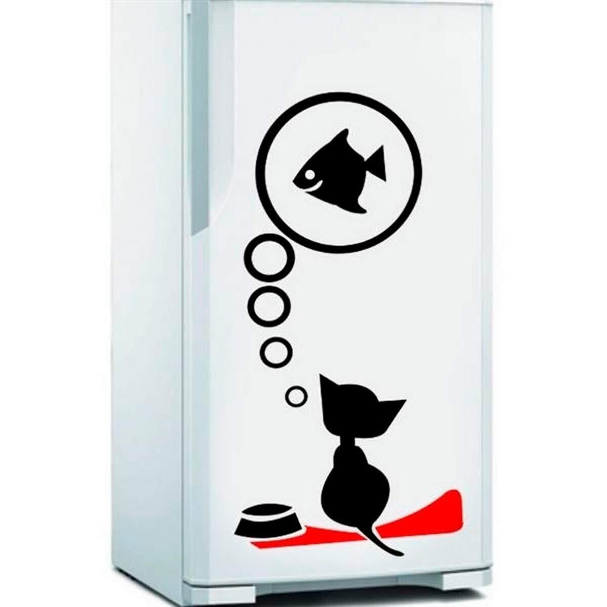 Adesivo de Geladeira Gato Pensando Em Peixe