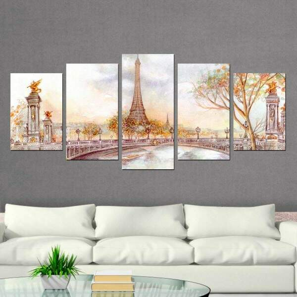 Kit 5 Quadros Decorativos Mosaico Paris 1