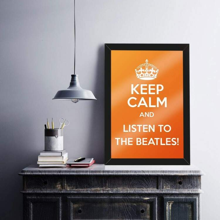Quadro Decorativo Frase Keep Calm Listen Beatles