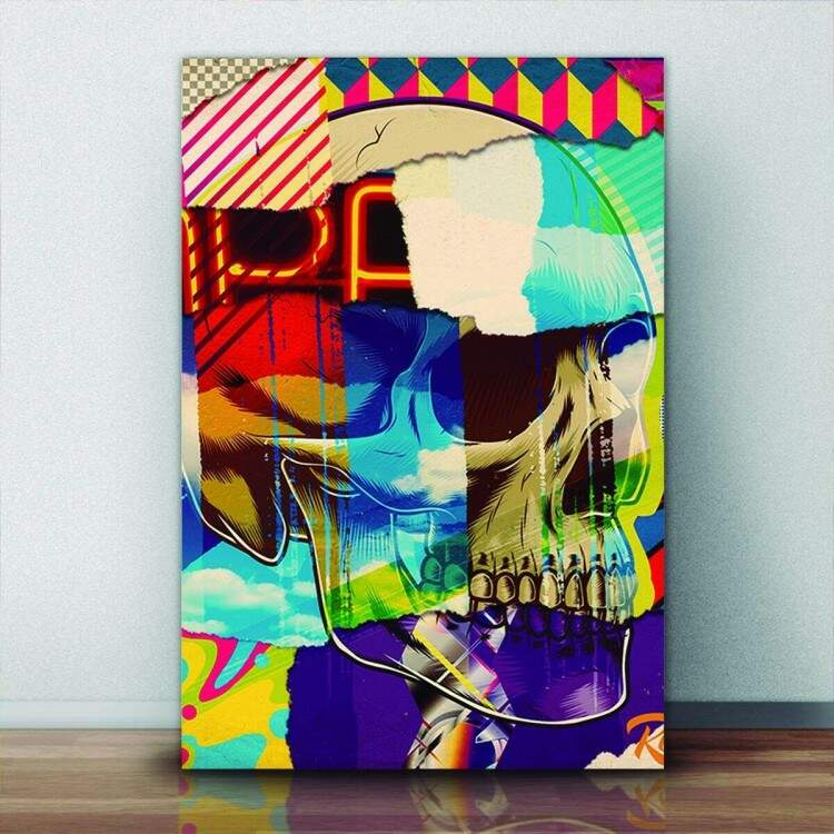 Quadro Decorativo Pop Art Caveira