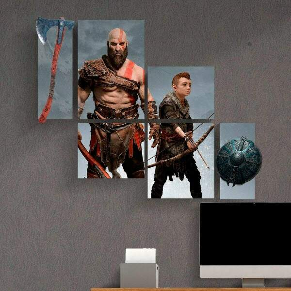 Kit 9 Placas Decorativas Games God of War Kratos 140x115cm