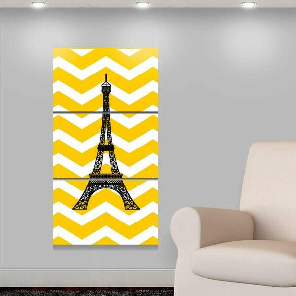 Kit 3 Placas Decorativas Turísticos 9 Torre Eiffel Chevron