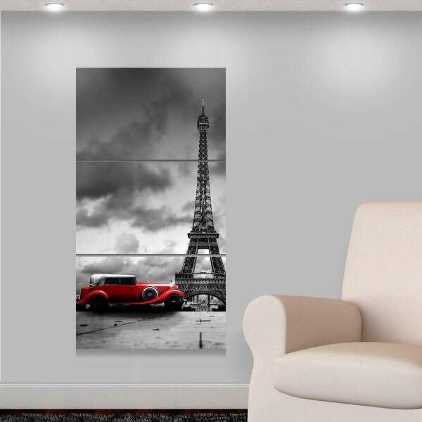 Kit 3 Placas Decorativas Turísticos 13 Torre Eiffel Carro