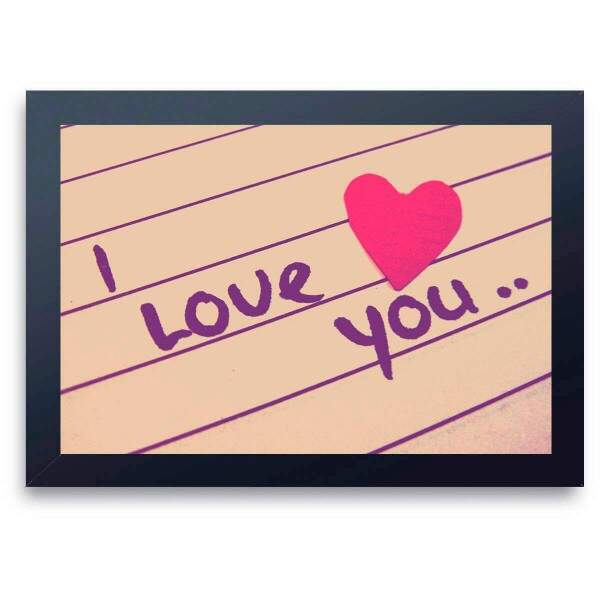Quadro Decorativo Romântico I Love You no Papel