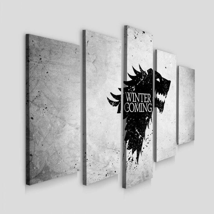 Kit 5 Quadros Decorativos Mosaico Winter Is Coming