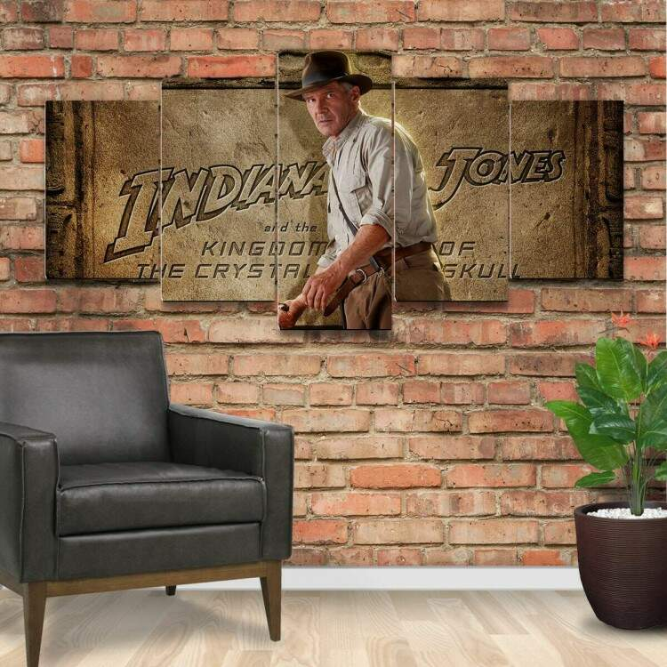 Kit 5 Quadros Decorativos Mosaico Indiana Jones