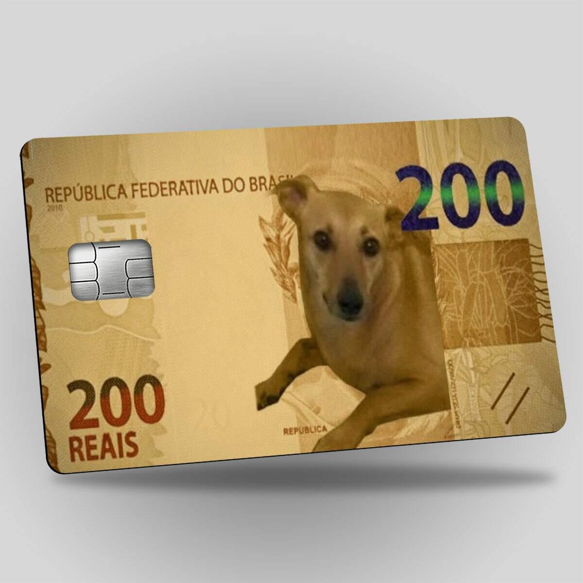 Adesivos Para Cartão Nota de 200 reais Cachorro