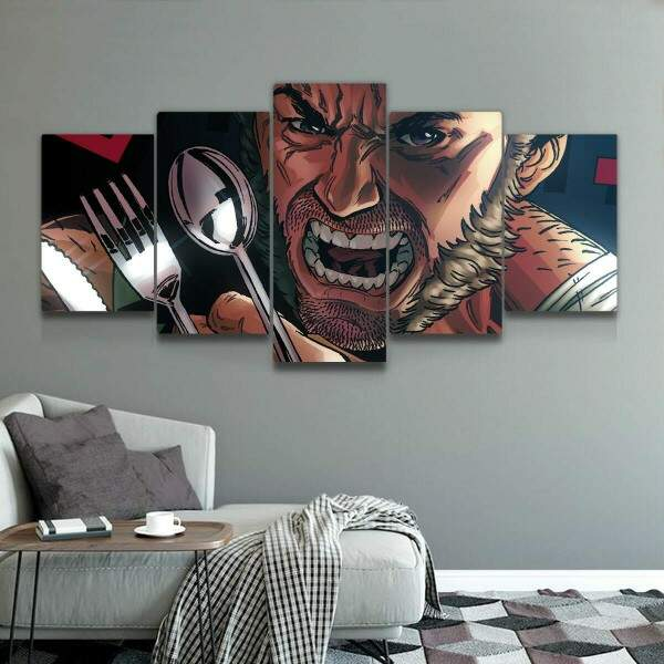 Kit 5 Quadros Decorativos Mosaico The Wolverine Talheres