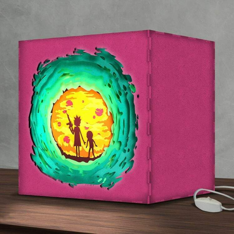 Luminária Lightbox Led Rick and Morty Portal 02