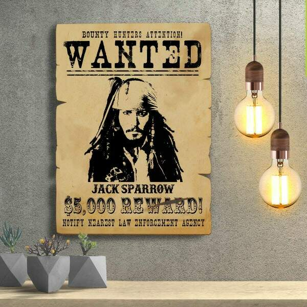 Placas Decorativas Wanted Procurado Capitão Jack Sparrow