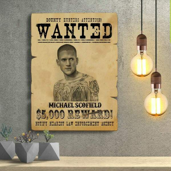 Placas Decorativas Wanted Procurado Michael Scofield
