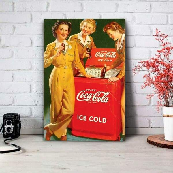 Placa Decorativa Coca Cola Ice Cold