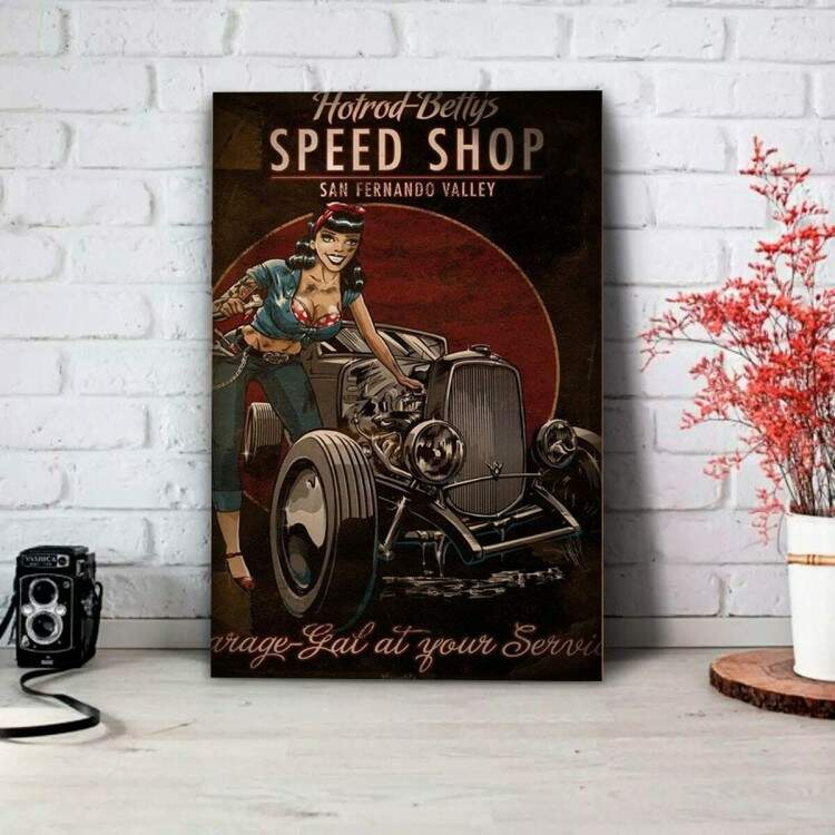 Placa Decorativa Pin Up Speed Shop
