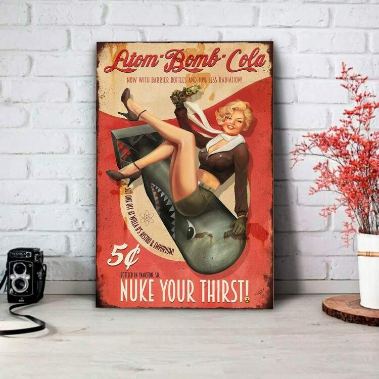 Placa Decorativa Pin Up Atom Bomb Coca Cola
