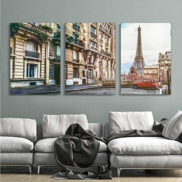 Kit 3 Quadros Decorativos Gigantes Paris 01