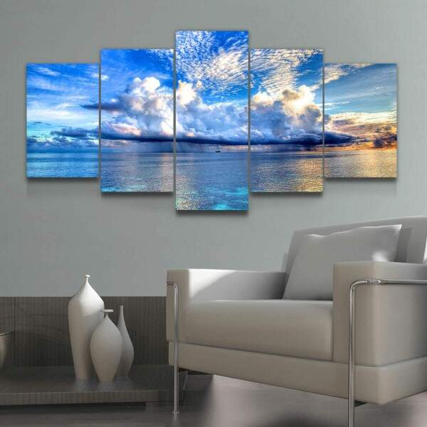 Kit 5 Quadros Decorativos Mosaico Nuvens
