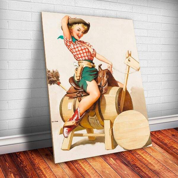 Placa Decorativa Pin-Up Cowgirl