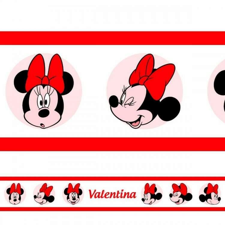 Adesivo de Parede Faixa com Nome Minnie 2 Vermelha