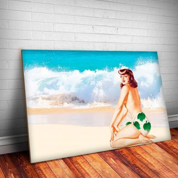 Placa Decorativa Pin-Up na Praia 2