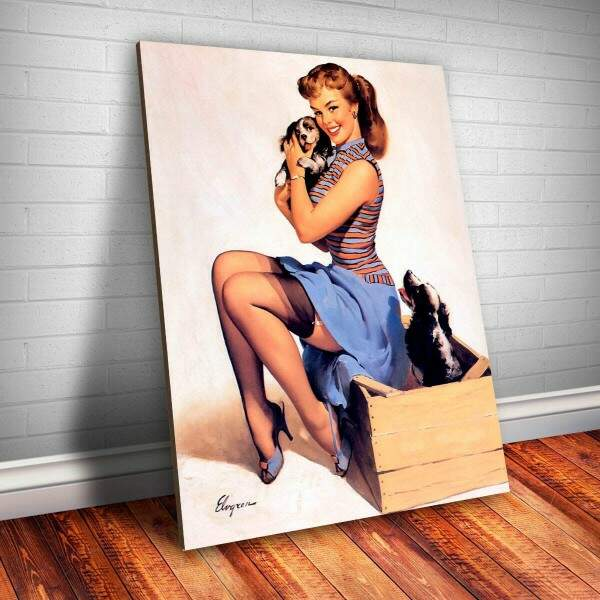 Placa Decorativa Pin-up com Cachorrinhos