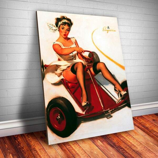 Placa Decorativa Pin-up Piloto de Carro