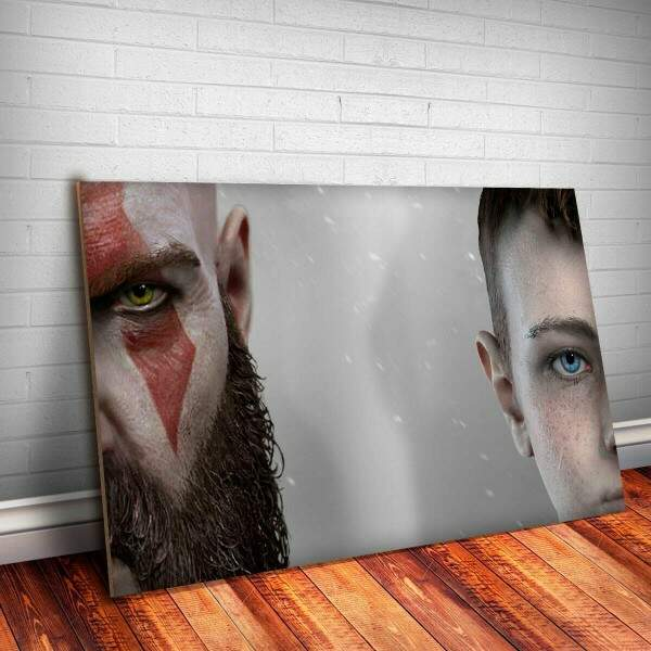 Placa decorativa God Of War 1 - Kratos e filho