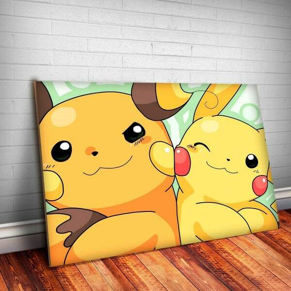 Placa Decorativa Pokemon 40 Raichu e Pikachu