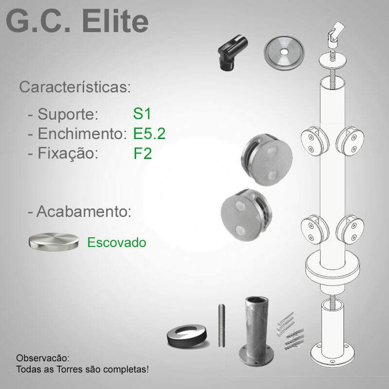 Guarda Corpo de Inox - Modelo Elite