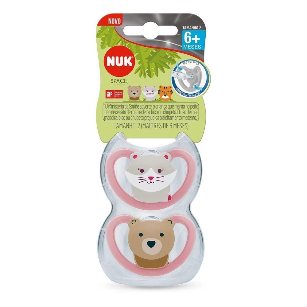 Nuk Kit Chupetas Space 6m+ - Rosa
